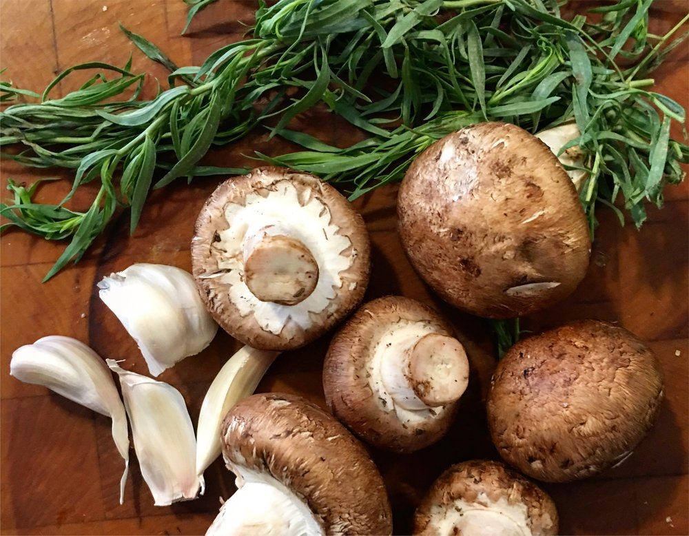 French foods from Occitane, and Italian foods throughout the peninsula, have dishes featuring mushrooms and herbs, and often named after hunters. It's a lovely thought that those who secure tonight's protein would collect perfect mushrooms and herbs on their way home.