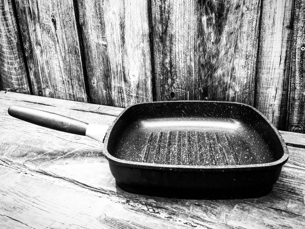 "Our 11"" Grill Pan. Non-Toxic non-stick cast construction. $80 off. Because steak deserves this pan."