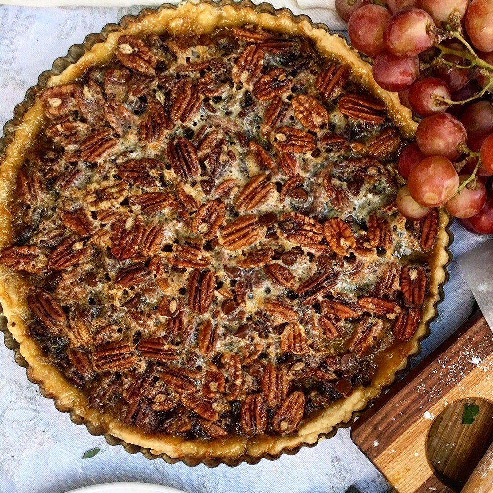 The pie we previewed in our Instagram post, pecans, yes ... but with dark chocolate. Not following us? Get to it!  http://www.instagram.com/eurocastcookware .