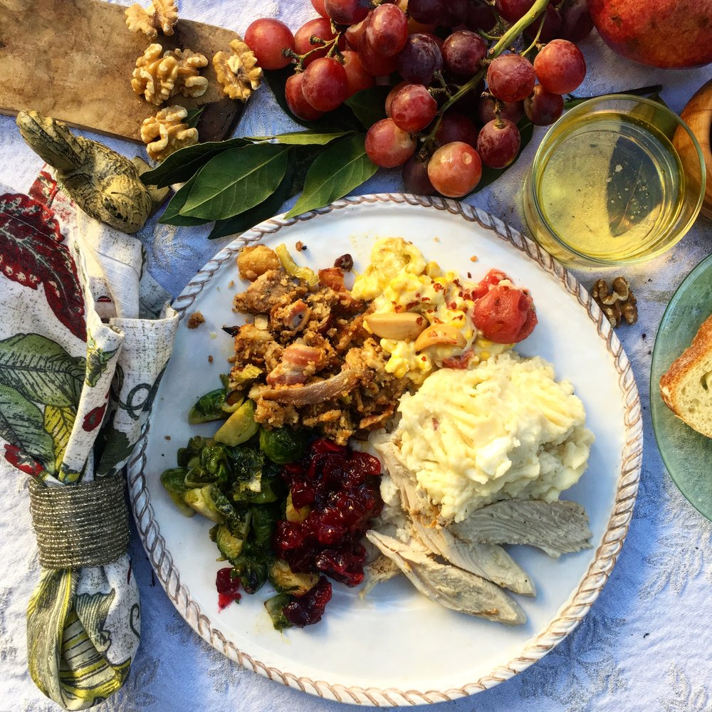 The table should have food, good linens, and little touches to the delight the senses. Grapes, walnuts, a nice napkin ring. These are a few of my favorite things. (Do I hear a waltz? Yes.)