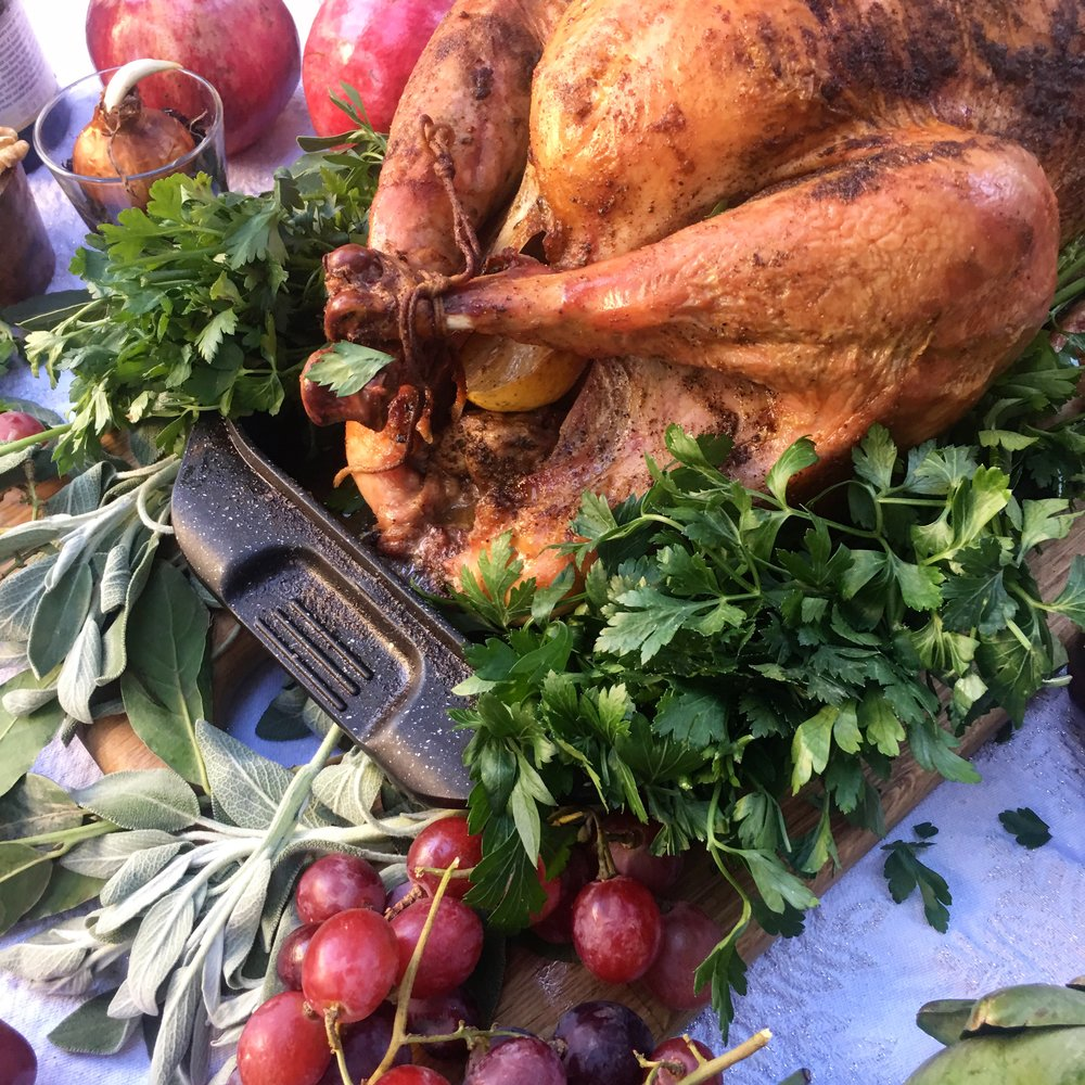 """We did our turkey at 12 pounds in the top of our EuroCAST double-roaster. The sides and top get a beautiful brown because of the extra exposure, and the """"start super-hot, turn down after"""" approach makes sure the bird stays moist."""
