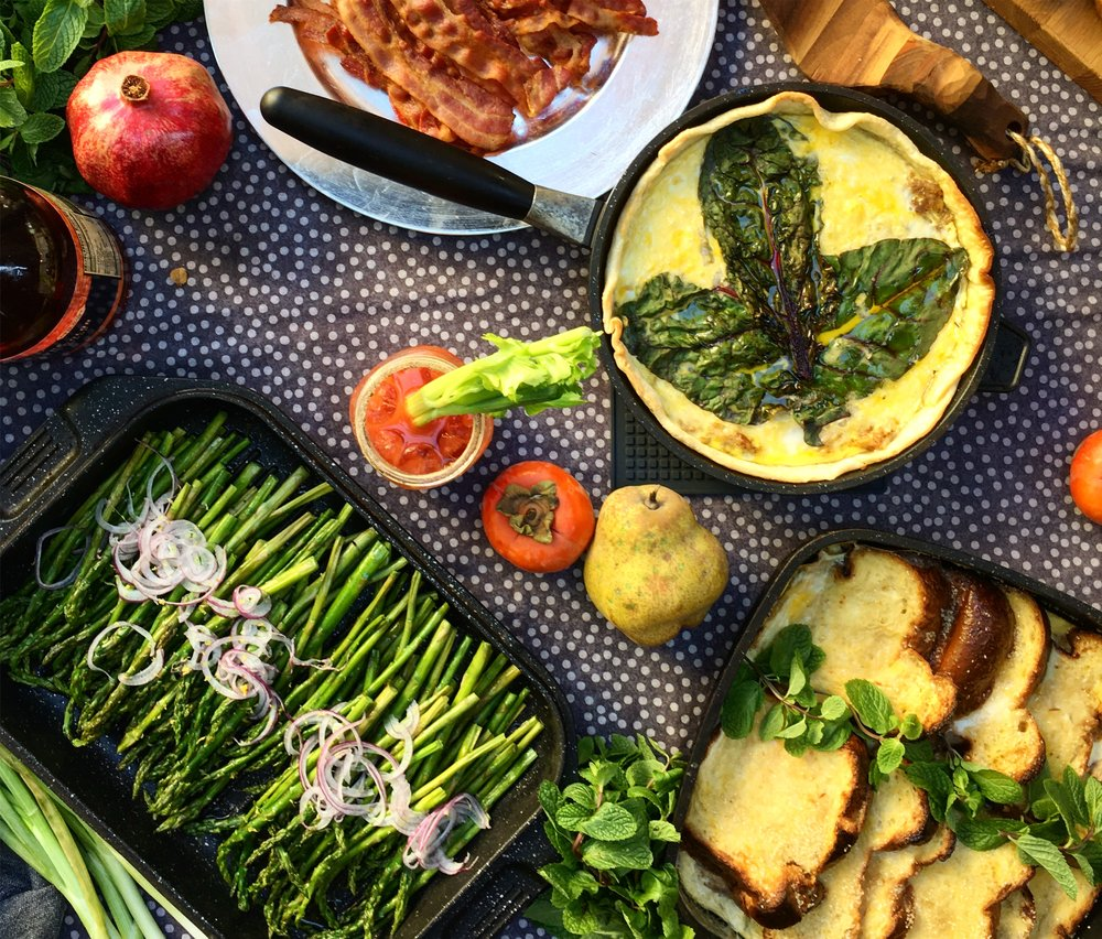 Asparagus done right, brioche bread pudding, a special quiche, bacon, Bloody Marys. Memory is made of scent, flavor, texture, and a thousand gracious touches on the table and in our time together.