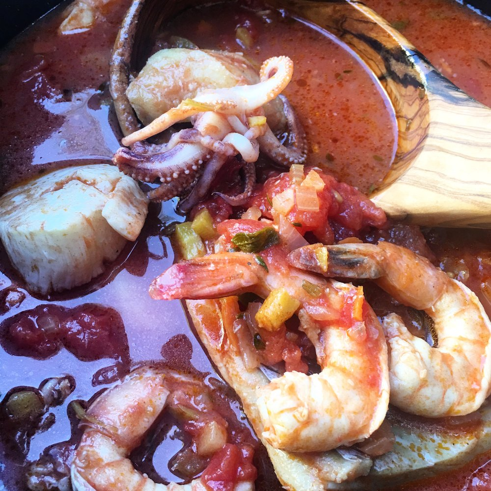 Part of the joy of an Italian seafood stew is that you can see the seafood. Nothing shows abundance and nature better.