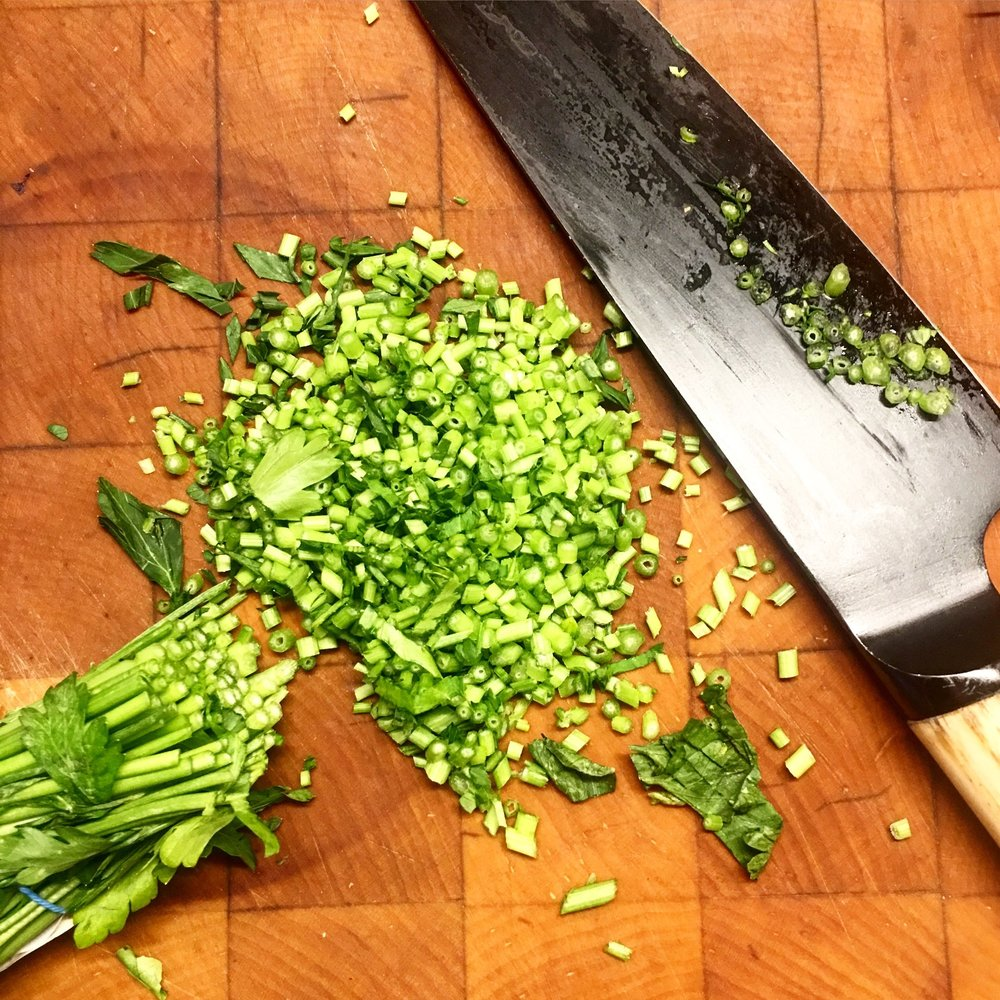 Parsley stems. Extra crunch and no waste!