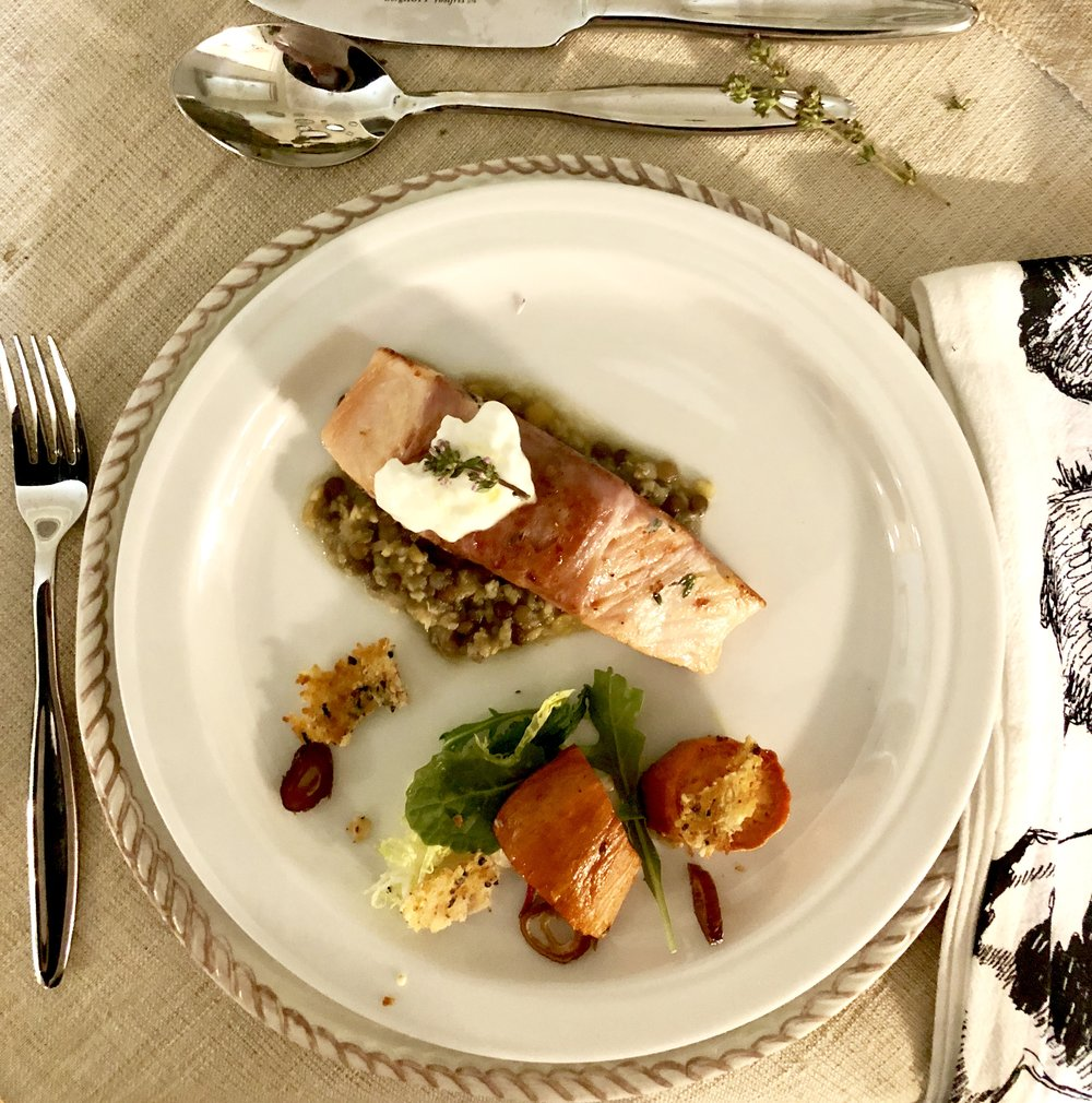 See the lentils under the salmon? See the salad? See the frico (parmesan crisp)? See the yogurt sauce? Every step is simple.