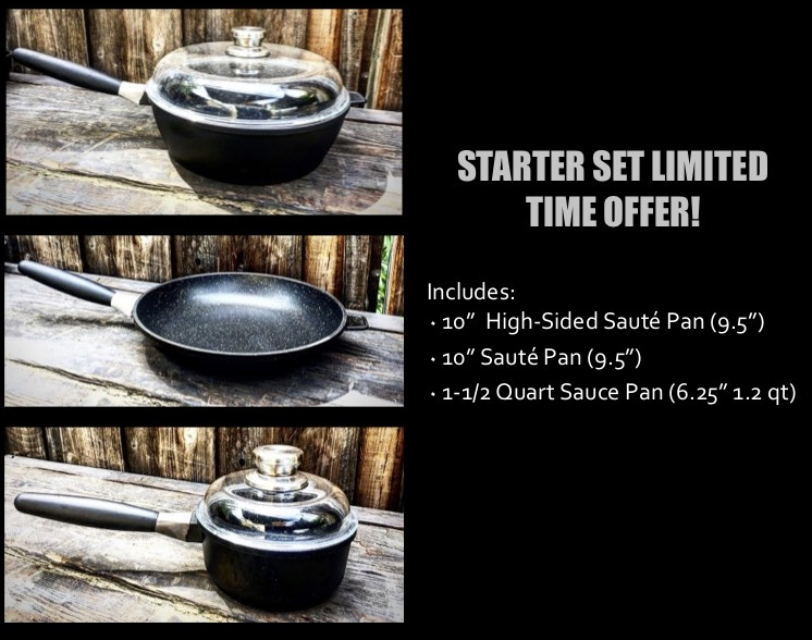 Three pieces, with two lids. And ... the lid for the high-sided gourmet sauté pan works perfectly on the traditional sauté pan. This cool cookware gear is made even better by the 50% price -- just $199.99, down from $399.99. Click to find out more and to buy!