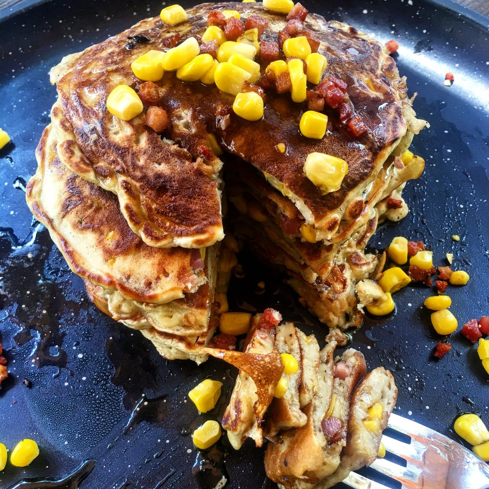 Another way with pancakes. Fresh corn with bacon chopped super-small. (Recipe  here .)Which are shown on the  griddle . Which is on  special . Which you can take advantage of by clicking on the pancake.