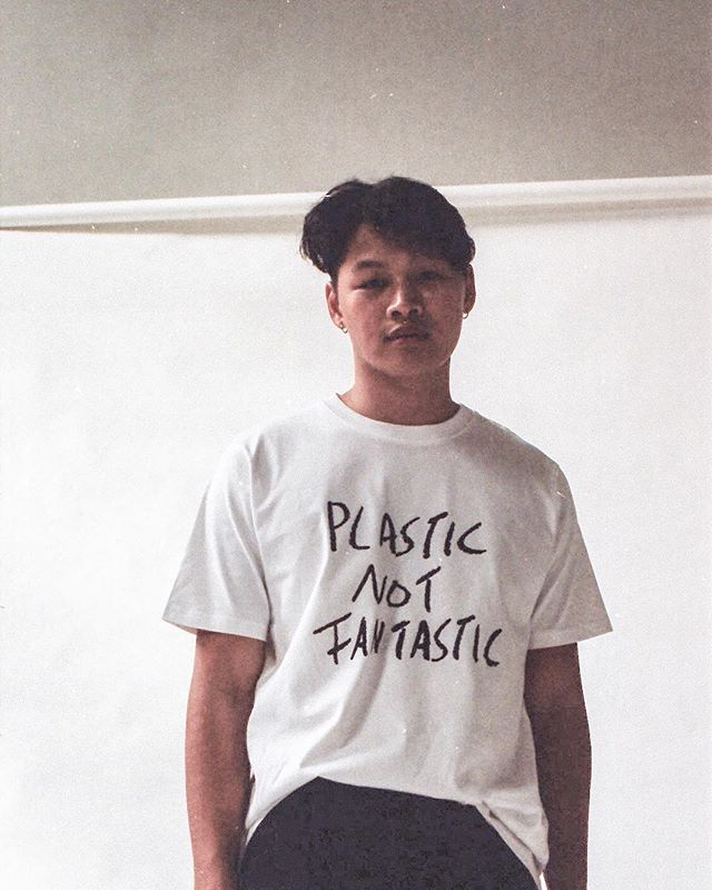victor wearing our sample which deals with our society's plastic problem - stay tuned for our upcoming drop 🙌🏻#lesstoolate #fairfashion #statementshirt #sustainability #fridaysforfuture #planetorplastic #socialentrepreneurship #plasticplanet #plasticnotfantastic
