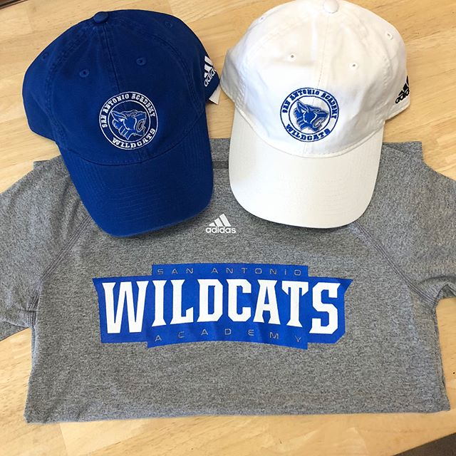 JUST IN....all new San Antonio Academy shirts and hats! Stop in and get yourself some before they are gone. #saacademy #adidas #wildcats