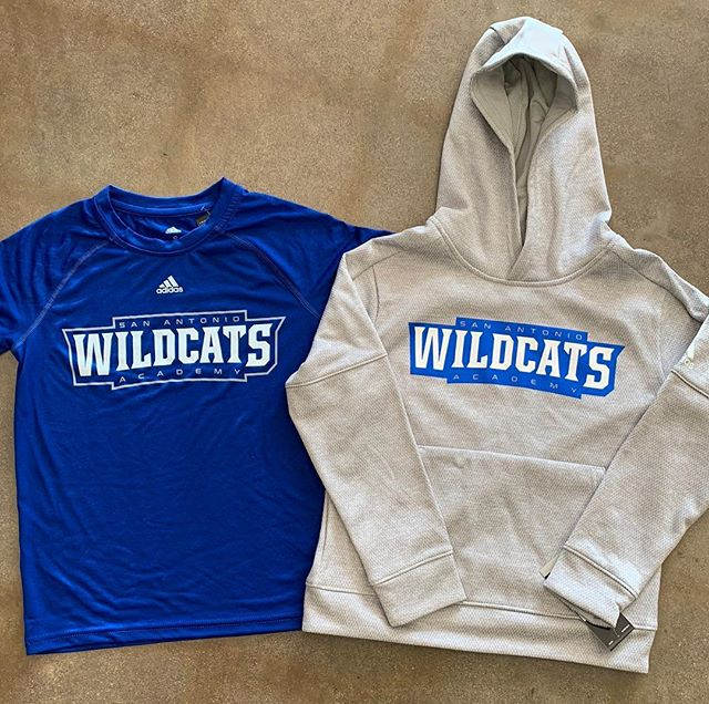 Just in!! @sa_academy hoodies and short sleeve climalite shirts! Come grab them before they are gone. #sanantonioacademy #vivrouxsports #adidas