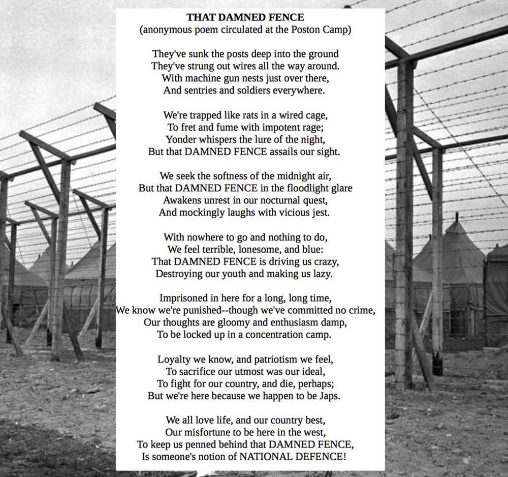 Poem written by a Japanese American while in an Internment camp... Great words that I hope we do not repeat.