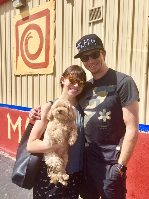Ronn with wife Sarah Goldstone and their dog, Sweetpea, in front of Moving Arts Española, September 2017.