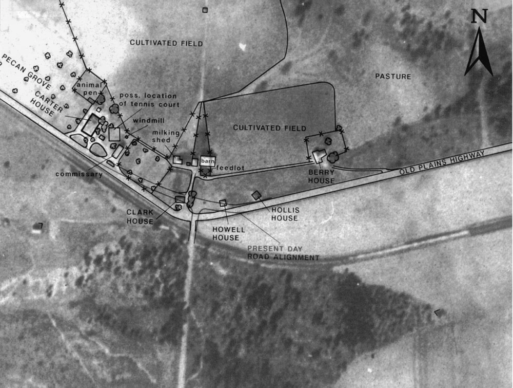 The 1941 aerial photograph of the Jimmy Carter Boyhood Farm, with structures and other features of interest outlined.