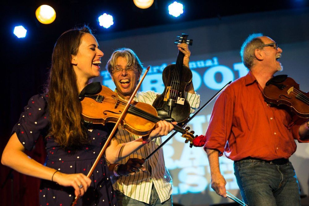 Brittany, Darol Anger, and Bruce Molsky. Photo by Jacob Blickenstaff, from the Brooklyn Bluegrass Bash 2014.