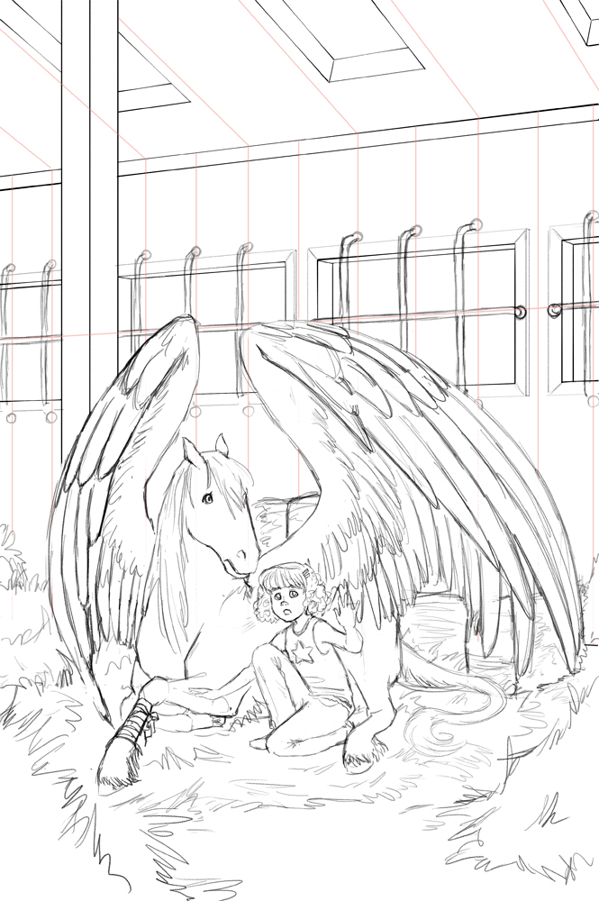 Hay Girl Hay! Since they're in a barn! I don't apologize for my puns. Pencils stage.