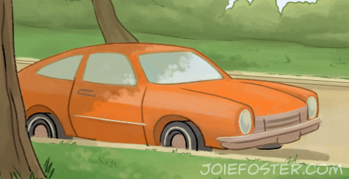 Detail shot of the car behind the skateboarding boy!