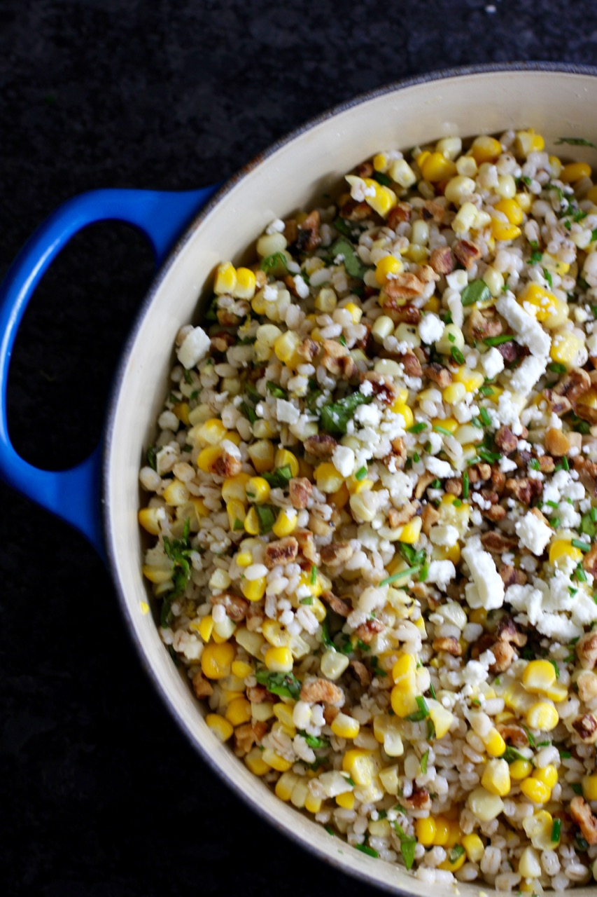 Corn and Barley Salad with Walnuts, Feta Cheese, and Basil
