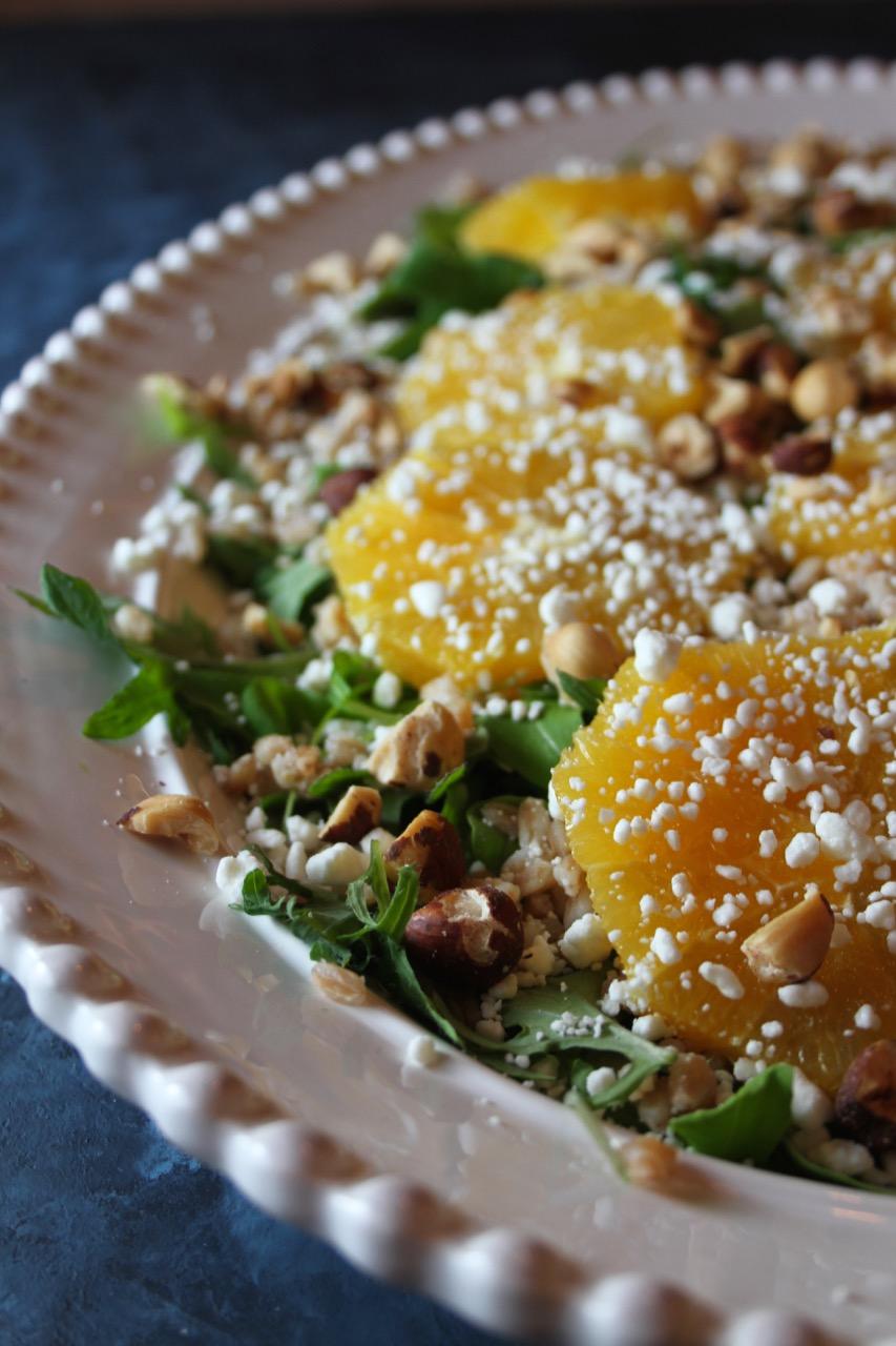 Arugula Salad with Oranges, Farro, Hazelnuts and Goat Cheese