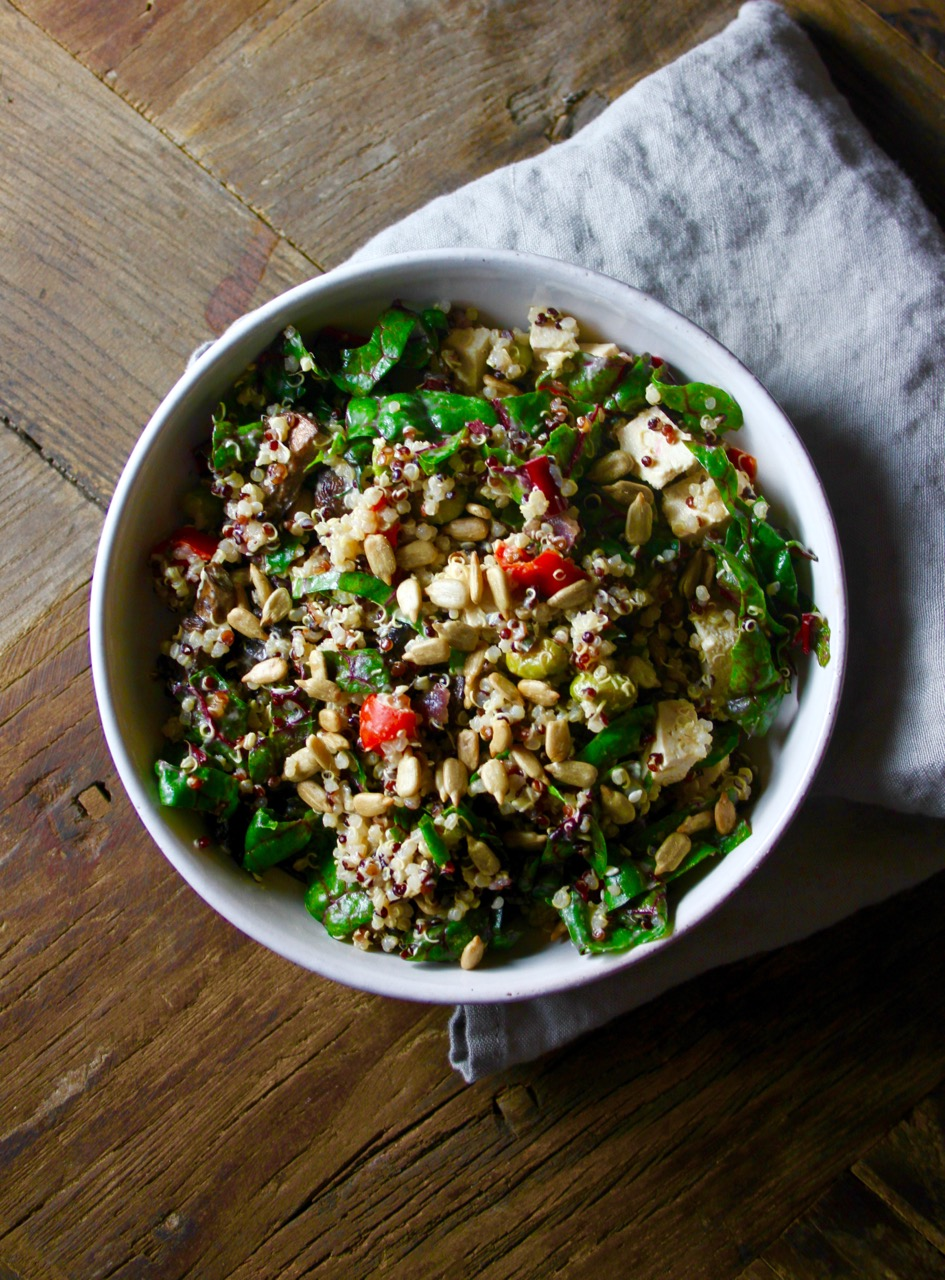 Quinoa and Swiss Chard Salad with Miso Sesame Ginger Dressing