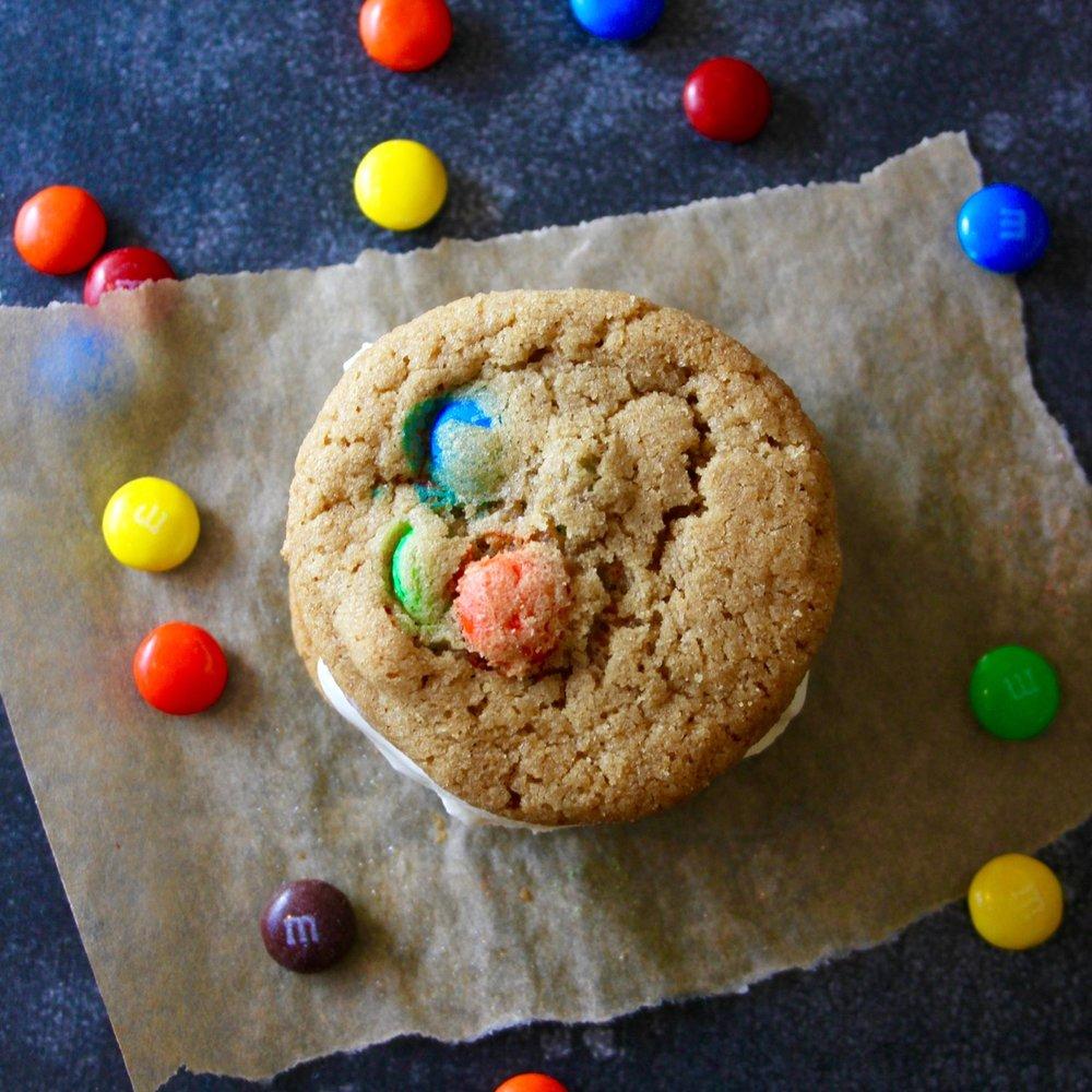 M&M Cookie Ice Cream Sandwiches