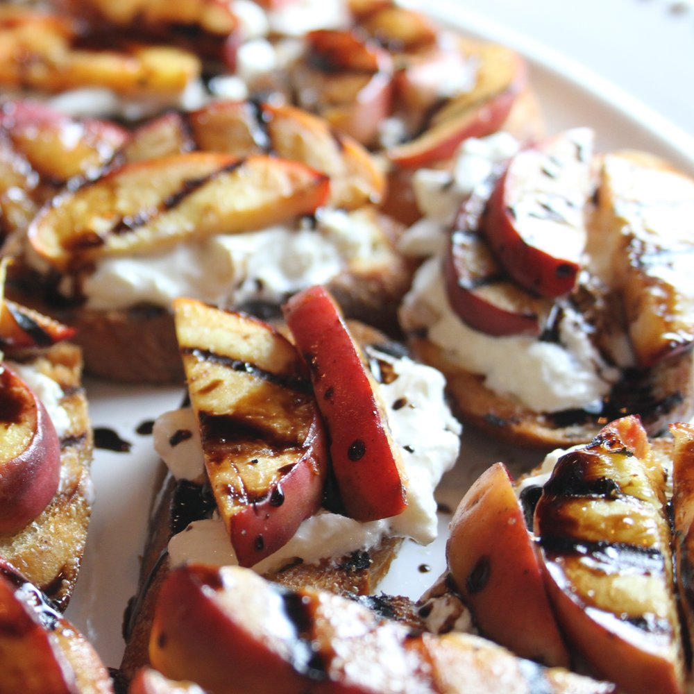 Burrata and Grilled Peach Crostini