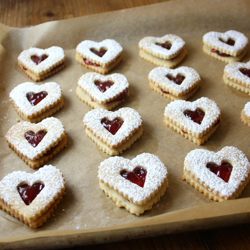 Cherry-Walnut Linzer Cookies