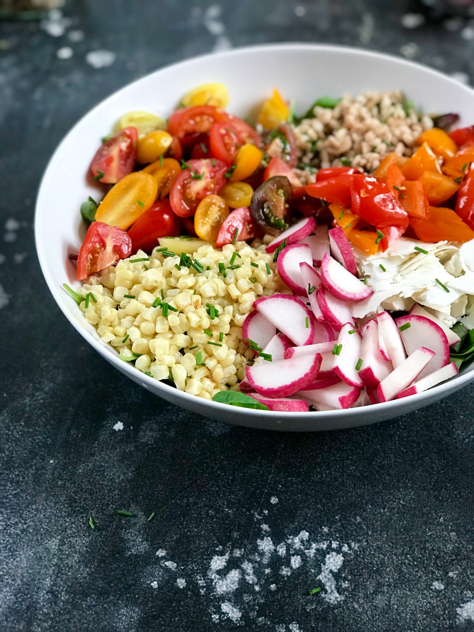 Chopped Summer Vegetable Salad with Farro, Yogurt and Za'atar