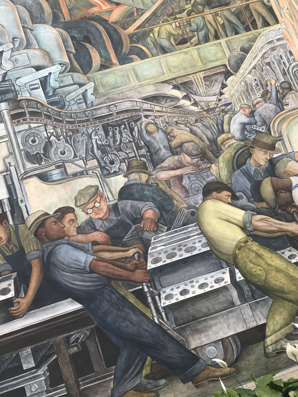 A tiny glimpse of the sweeping The Diego Rivera Detroit Industry fresco.