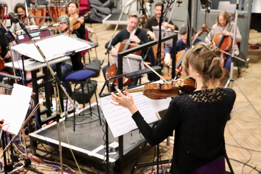 Recording in Abbey Road - With the Royal Philharmonic Orchestra. A new piece for violin and orchestra by Oliver Davis.2019