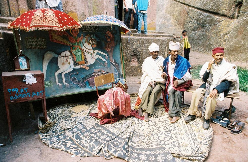 Priests in Lalibela, Ethiopia  Photo By: Sarah Tesla
