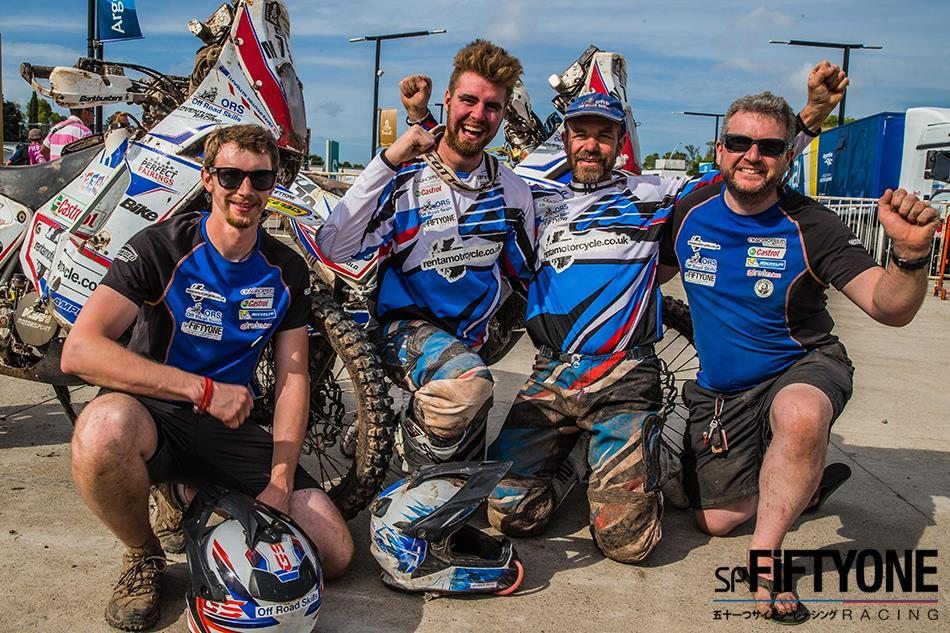 The SP FiftyOne racing crew celebrating their completion of the 2015 Dakar Rally.