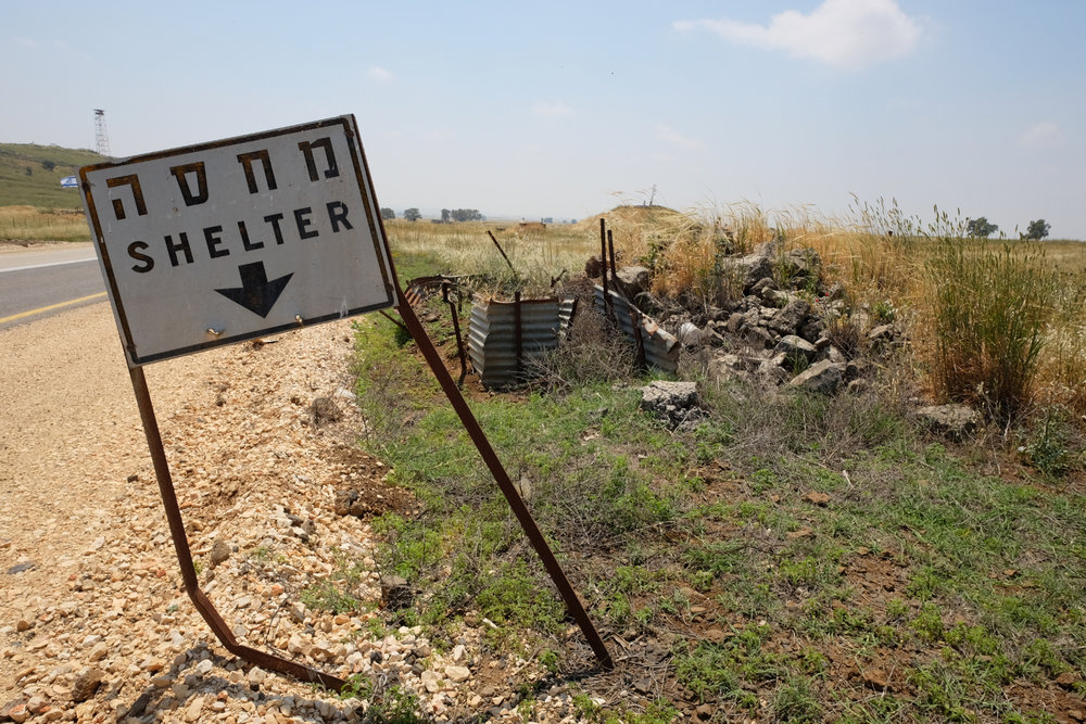 A crumbling bomb shelter along highway 98 in Israels Golan Heights.  Photo By: Sarah Tesla