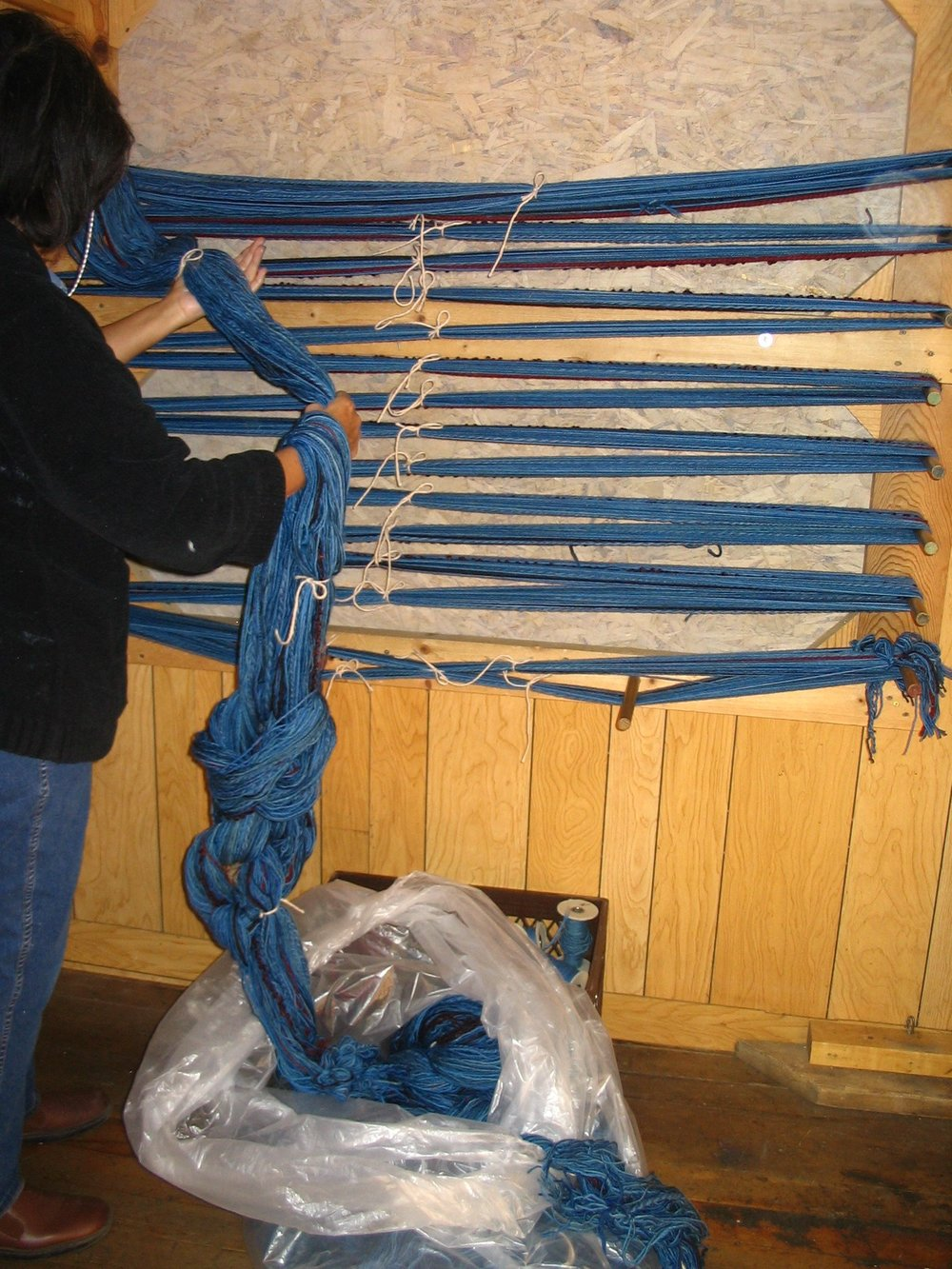 Winding a new warp to put on the loom