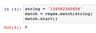 match() find the pattern at the beginning of the string