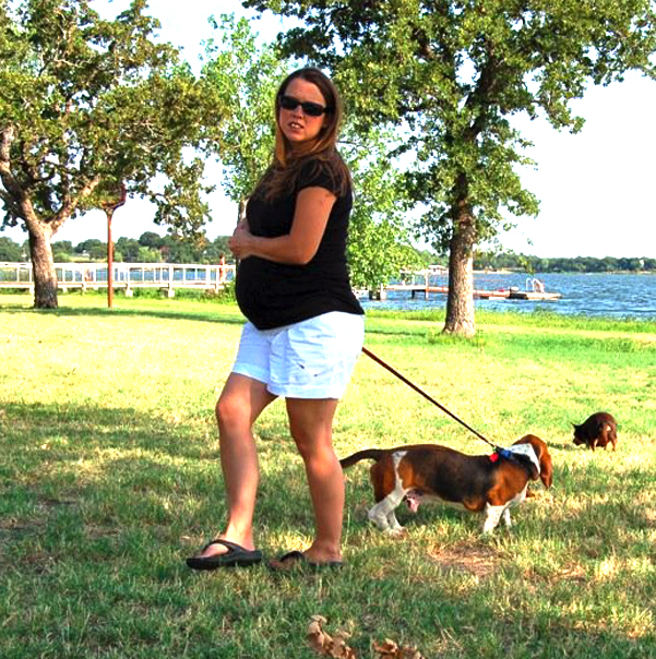 BOUNCE , ME 9 MONTHS PREGNANT and chewy in the background      july 2008      The beginning of my hound obsession