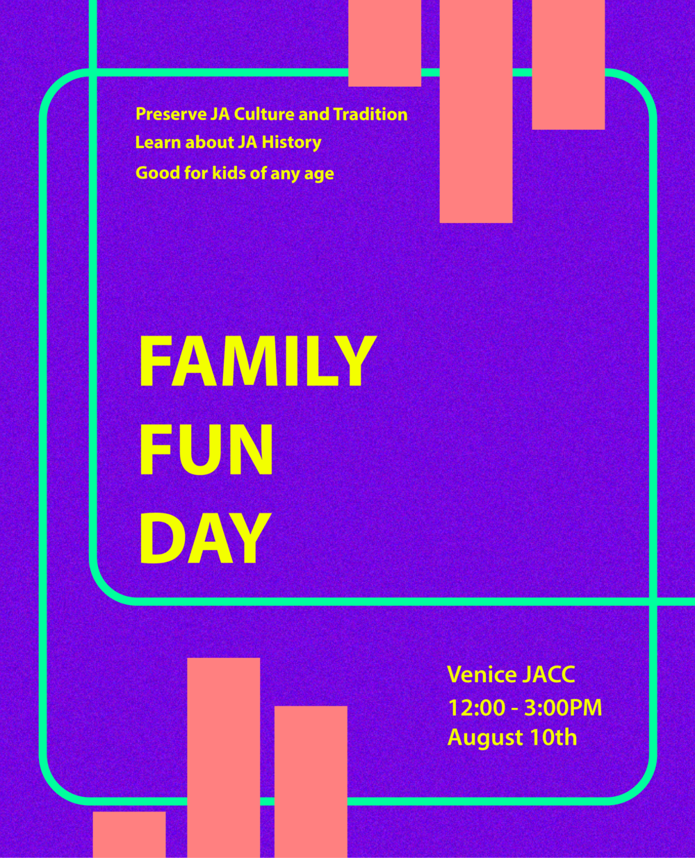 - August 27Family Fun Day1:00 - 3:00 PMVJCC