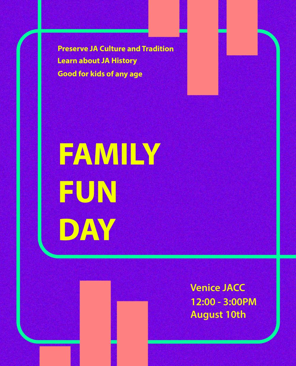- August 27Family Fun Day1:00 - 3:00 PMVJCC