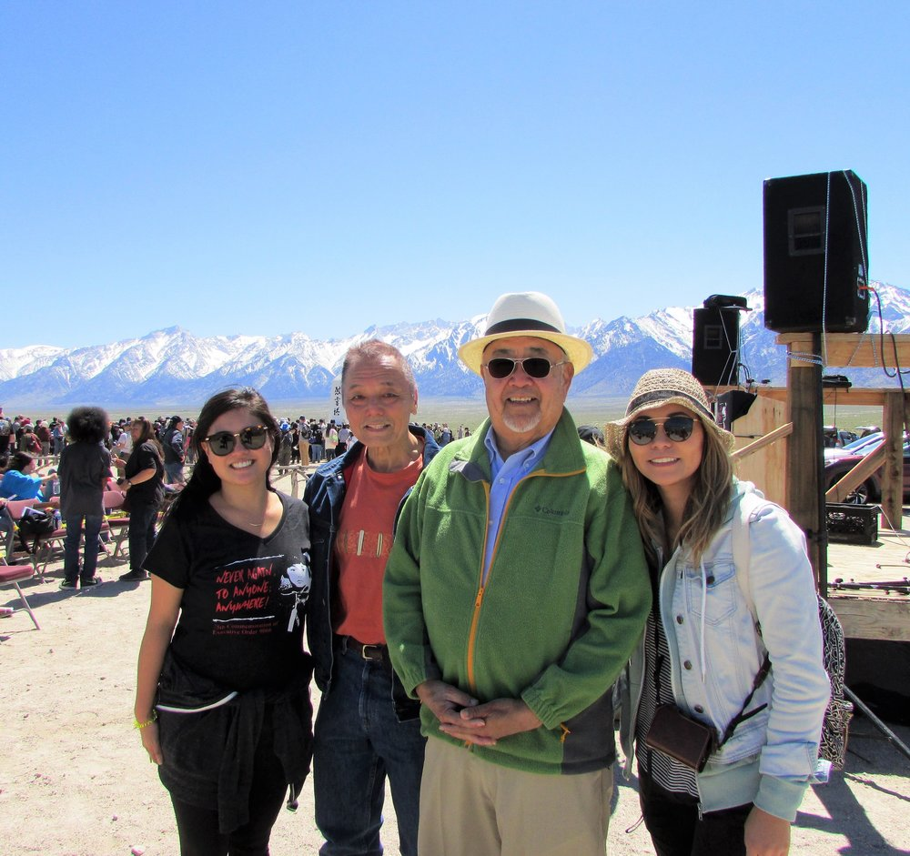 2017 Manzanar Pilgrimage-(from left to right)Amy Watanabe, Keith Kawamoto, Hon. Warren Furutani, Annia Yoshizumi