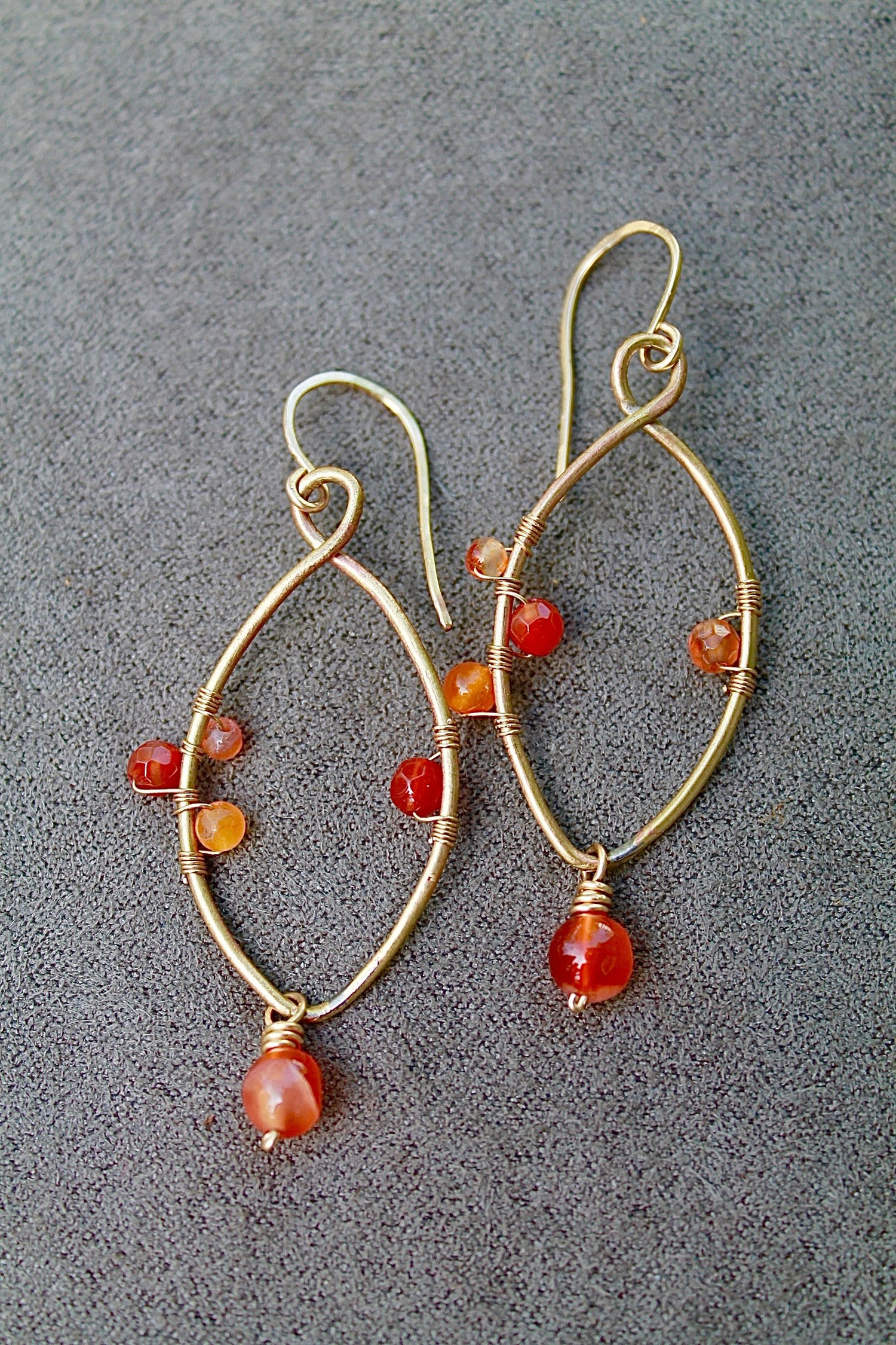 products orange coralized earrings carnelian