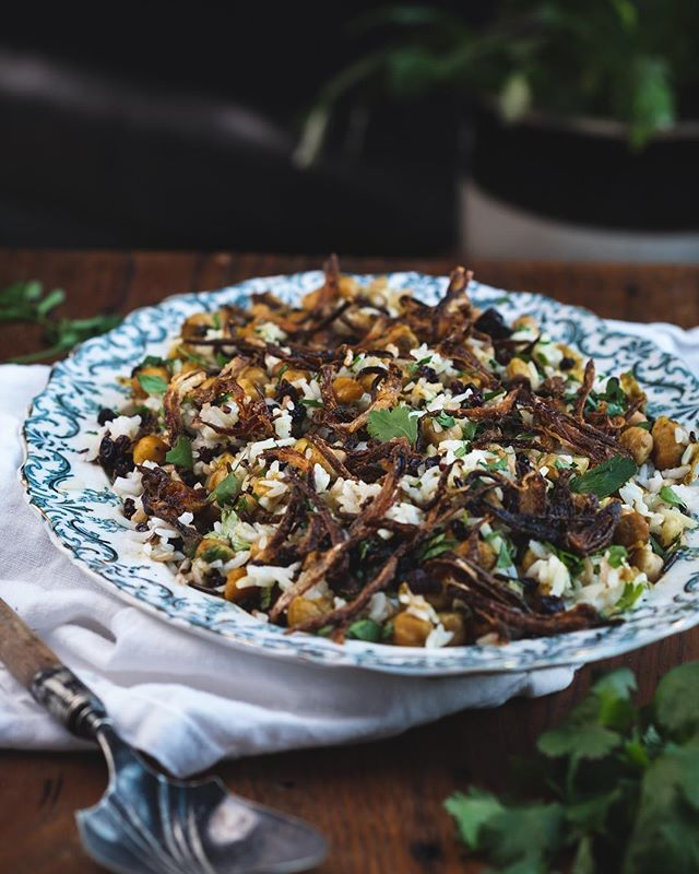 Basmati and wild rice, fresh herbs, currants and spiced chickpeas.