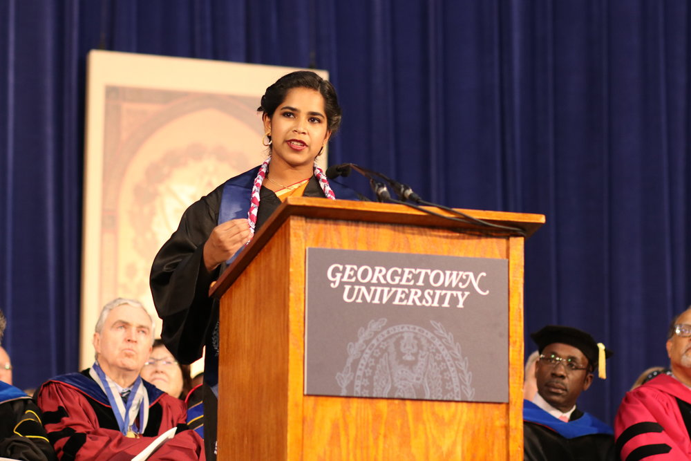 Commencement speaker at Georgetown University, May 2017.