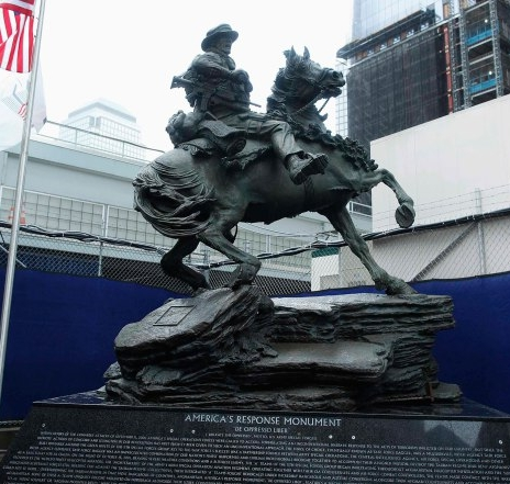 "The ""America's Response Monument"" constructed at the Twin Towers memorial, honoring the Horse Soldiers."