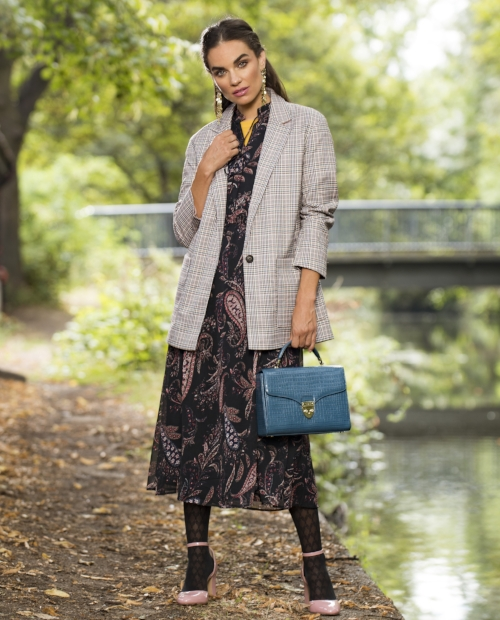 IMAGE: Styling by NHJ Style team | Photography by John McMurtrie     Printed dress, ONLY; Yellow top, French Connection; Checked Blazer, Esprit; Leather bag, Aspinal of London; Earrings, Jon Richard; Patent shoes, Head Over Heels