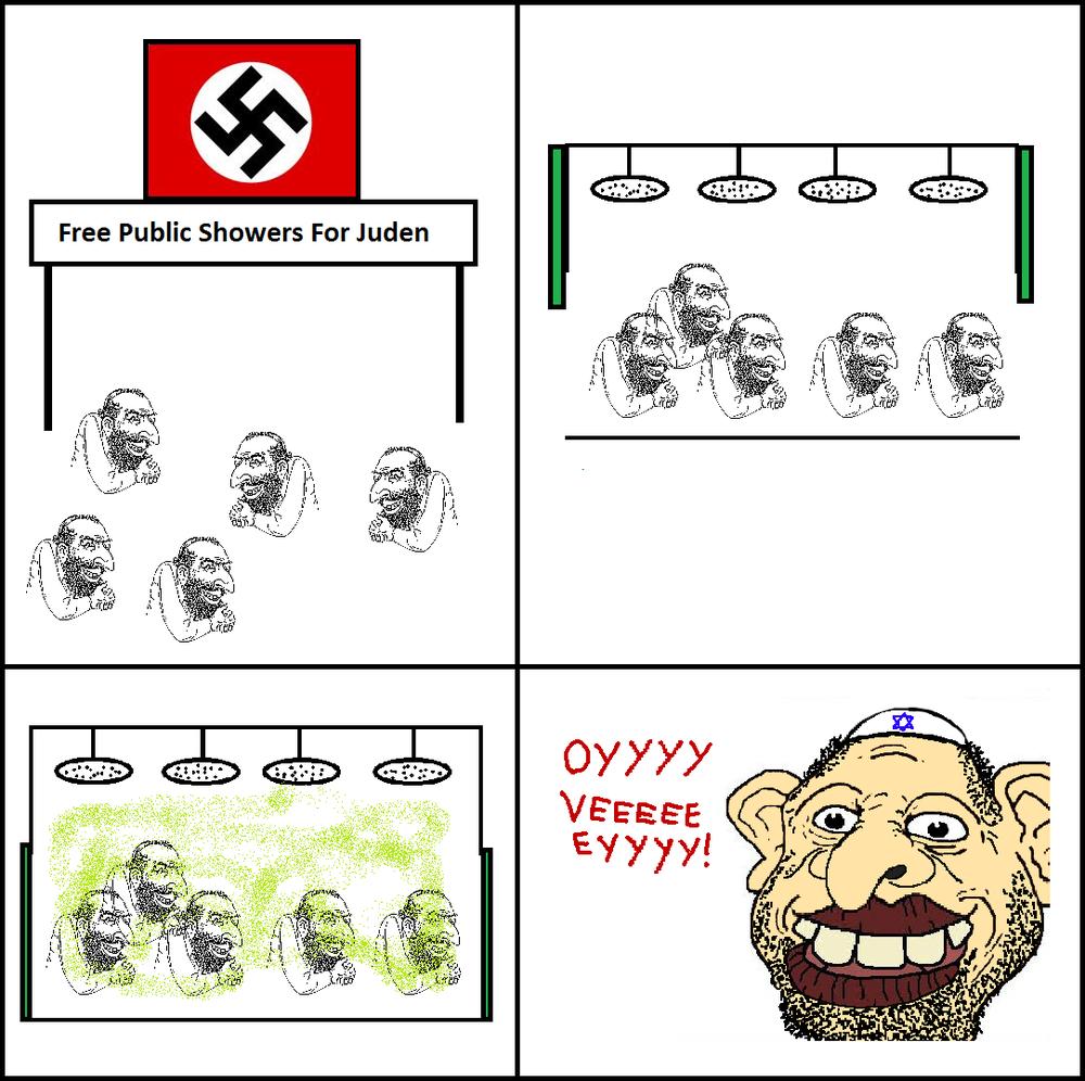 Een Holohoax meme op de ongetwijfeld 'ironisch' genaamde website 'thedailystormer'. De 'Holohoax' is de complottheorie die beweert dat de Holocaust door de Joden zou zijn verzonnen, om zo de aandacht van hun eigen 'misdaden' af te leiden.