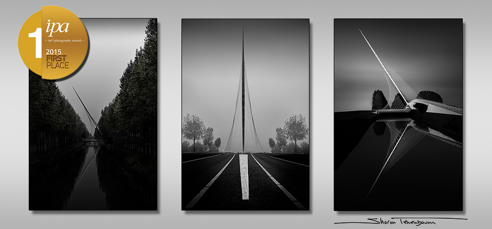 These three bridges (Harp, Lute and Lyre bridges), are located in the small town of Hoofddorp (Holland), on the outskirts of Amsterdam were designed by Spanish engineer and architect, Santiago Calatrava.  I wanted to capture all three bridges with a similar theme and as soon as I saw them it was obvious to me that it would be the theme of 'Reflections' as two of the three bridges were majestically situated over a river to form a beautiful reflection.  The Harp bridge was the only one in which I decided to do something different and use the traffic lines as the 'reflection' as the symmetry created the perfect balance.  The Lute and Harp bridges were taken as a still shot, however for the Lyre bridge I decided to use a long exposure.  Normally my images celebrate the structure itself that I am photographing, for the Lute bridge I wanted to put the environment in centre stage and let the bridge play supporting actor, let take a step back if only to increase it's presence.
