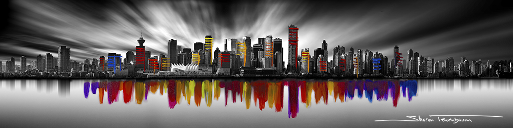 Vancouver Skyline Pano Long Exposure Painted Rainbow
