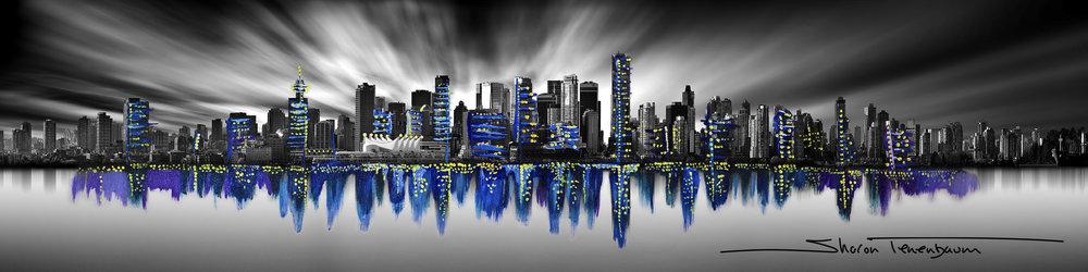 Vancouver Skyline Pano Long Exposure Painted Blue (night)