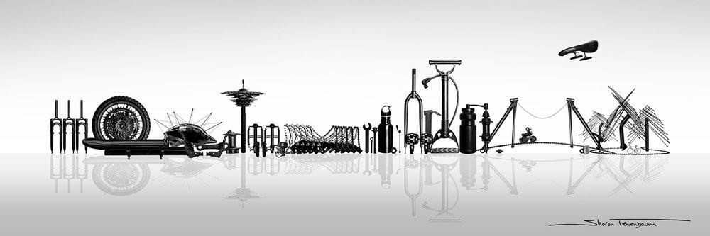 Bike Art - Vancouver Skyline