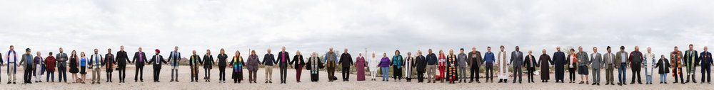 Local faith leaders meet together for a group prayer and photograph at Tovrea Castle in Phoenix, Arizona  . Our thanks to Tovrea Carraro Society for making this photo session possible.
