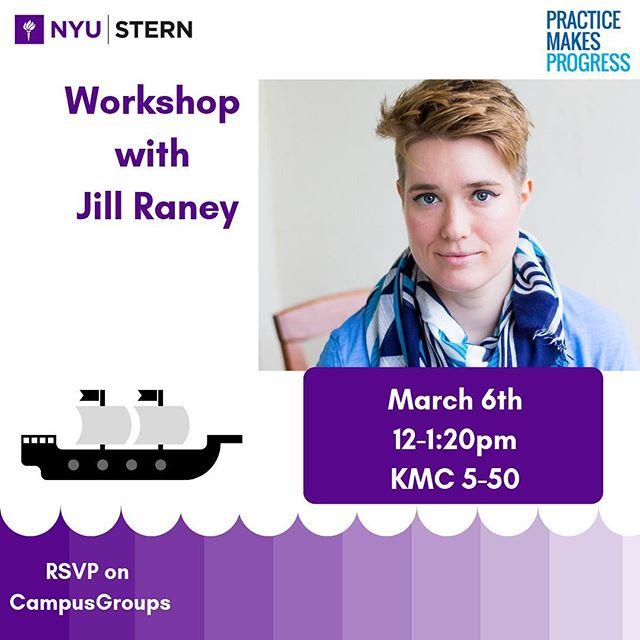 Jill Raney, Founder and CEO of Practice Makes Progress, will be hosting a 90-minute workshop, discussing effective practices in receiving negative feedback. Lunch will be provided! Register on CampusGroups. #SternAllyship #GetOnBoard